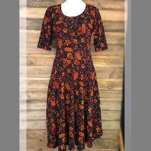 LuLaRoe Amelia leaf print dress in fall colors
